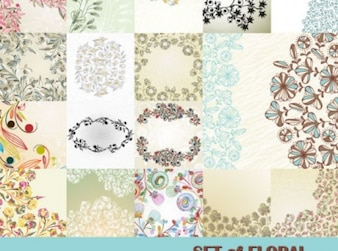 Flowers in abstract patterns background