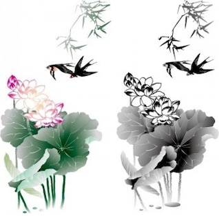 Flowers with swallows vector