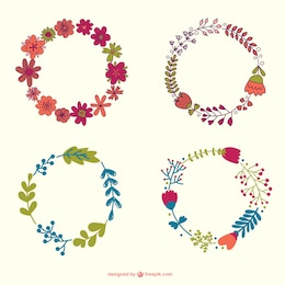 Flowers wreath hand-drawn collection