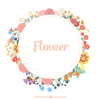 Flowers wreath template free download