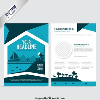 Flyer template in blue tones