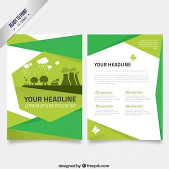 Flyer template in green tones