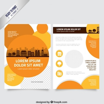 Flyer template with orange circles