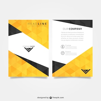 Flyer template with polygonal pattern