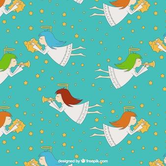Flying angels illustration