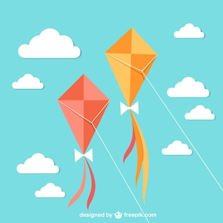 Flying kites with sky