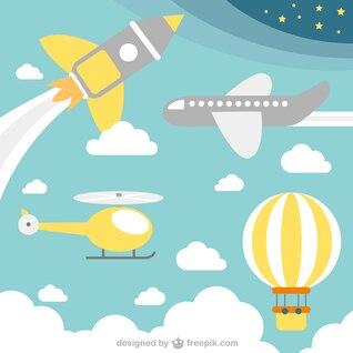 Flying transport concept vector