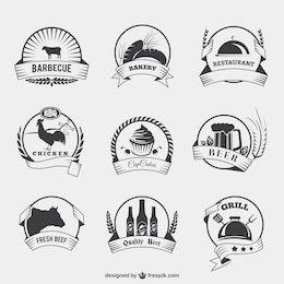 Food badges in retro style