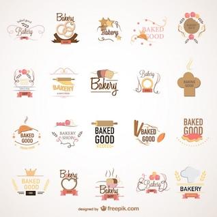 Food bakery logos set