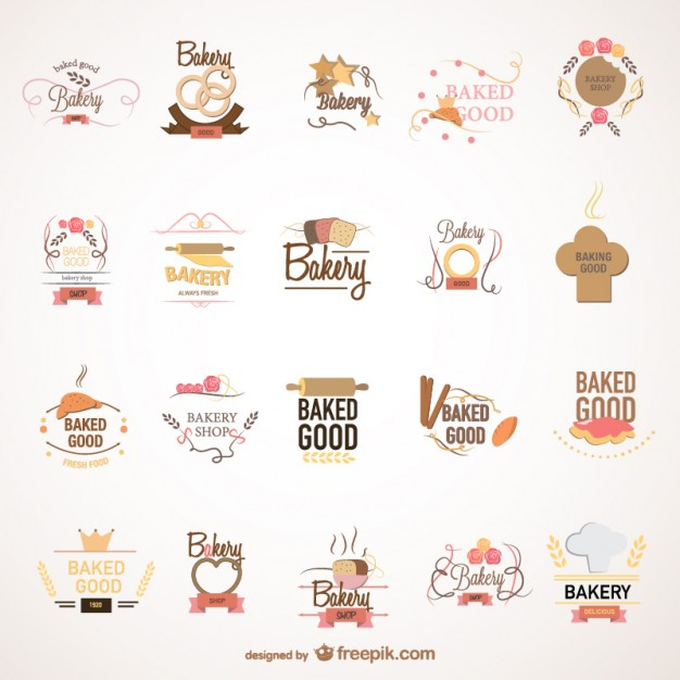 Food bakery logos set