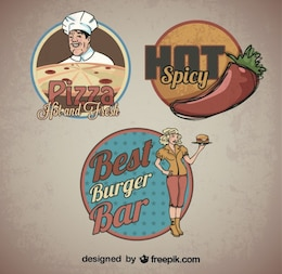 Food Sticker Retro Logo Templates