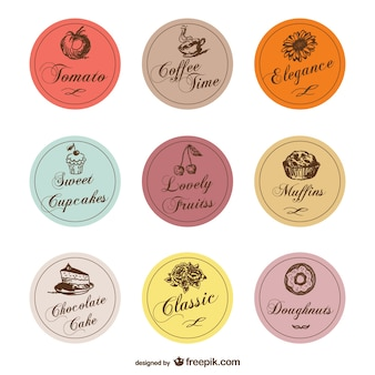 Food treats labels vector set