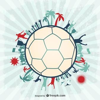 Football soccer players vector ball design