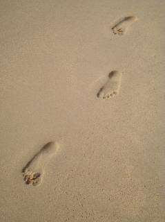Footprints in the sand  impression