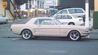 Ford mustang in beige