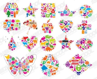 formed in the shape of colorful graphics vector material