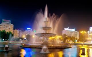 fountain in the night  night