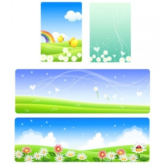 four spring backgrounds