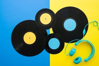 Four vinyls and headphones