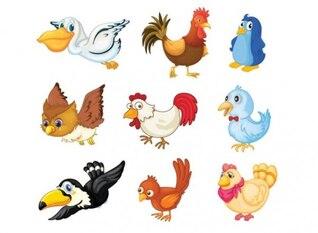 fowls cartoons with big eyes