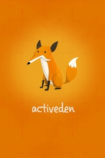 Fox on orange background vector