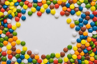 Frame concept of colorful candy