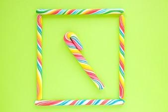 Frame of candy sticks