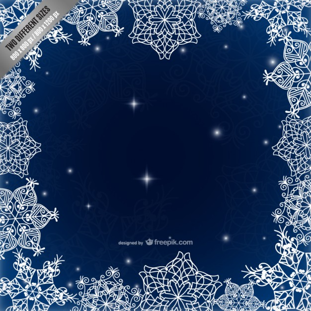 Frame with calligraphic snowflakes