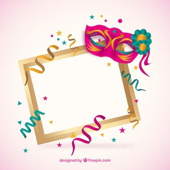 Frame with carnival mask