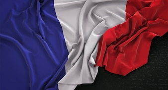 France Flag Wrinkled On Dark Background 3D Render