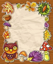 Free  nature children cute lovely smart beautiful flower mushroom owl cartoon picture frame vector