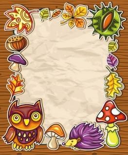 Free  nature children cute lovely smart beautiful flower mushroom owl cartoon picture frame vector