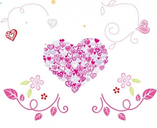 free beautiful floral heart vector illustration