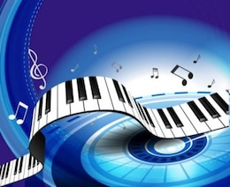 Free blue white bright light dots wave gorgeous piano key background  vector