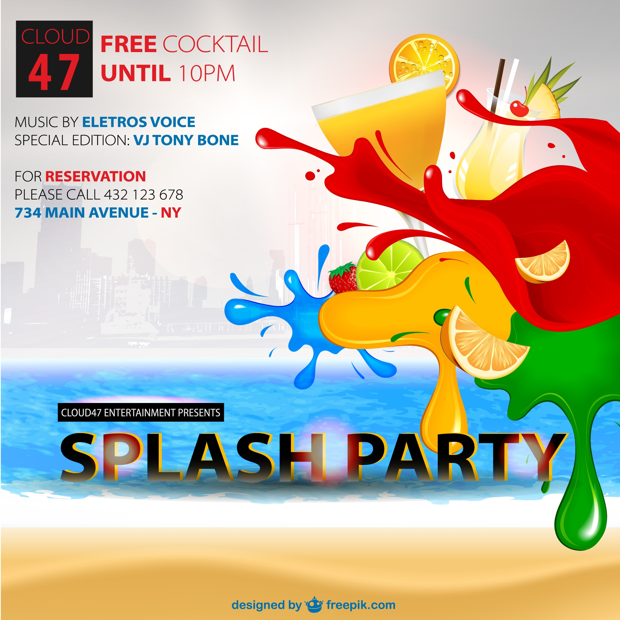 Free cockteils summer party vector poster