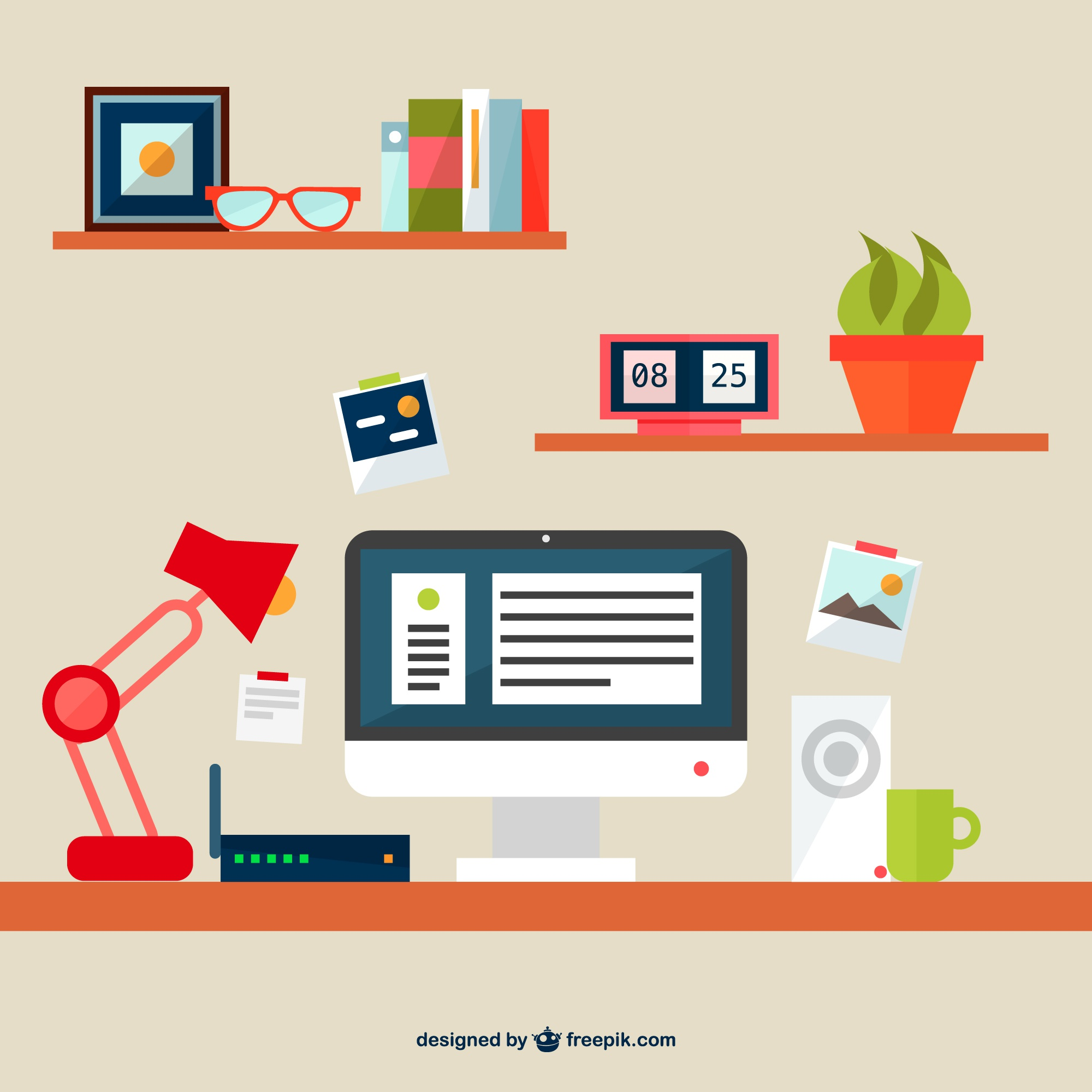 Free flat illustration office space