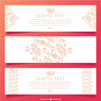 Free flower banners vector set