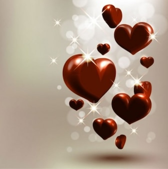 Free heart starstudded romantic heartshaped  vector love cute wave flow red dark bright beautiful lovely