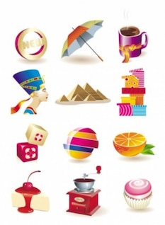 Free icon beautiful threedimensional vector umbrella coffe orange  cute fashion pink bright smart