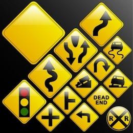 Free misc traffic signs vector arrow urban black yellow bright smart