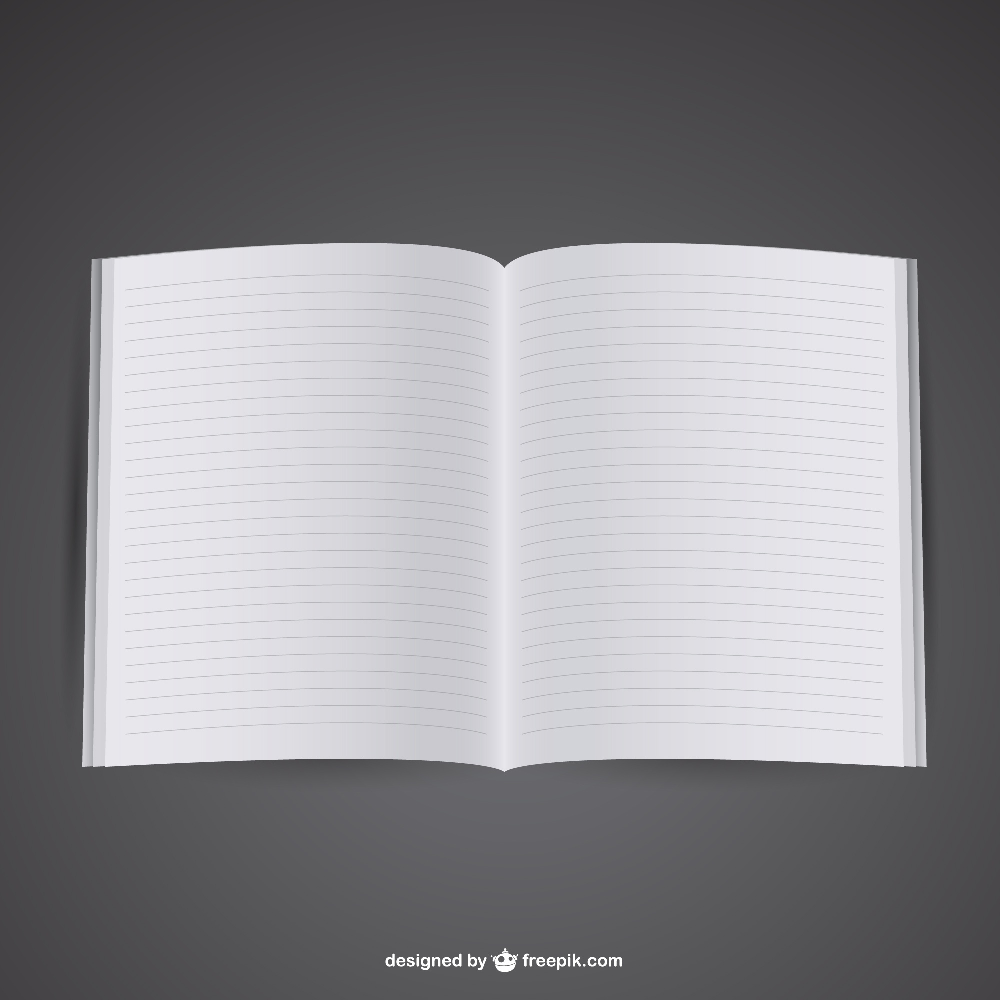 Free mockup of opened notebook