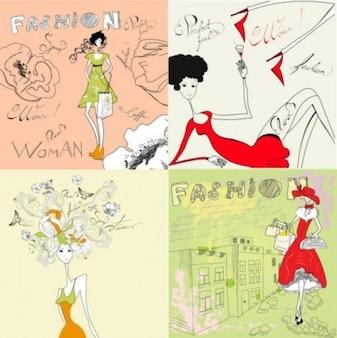Free people girl stick figure vector line draw art pink beige green fashion woman cute