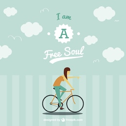Free spirit on bike vector image