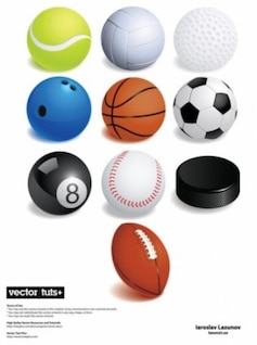 Free sport ball basket football tennis golf baseball pool smart cute misc variety games vector
