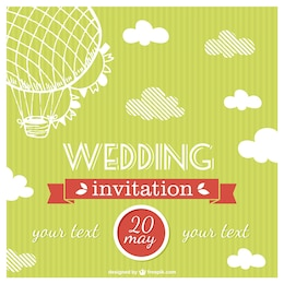 Free vector air balloon wedding card