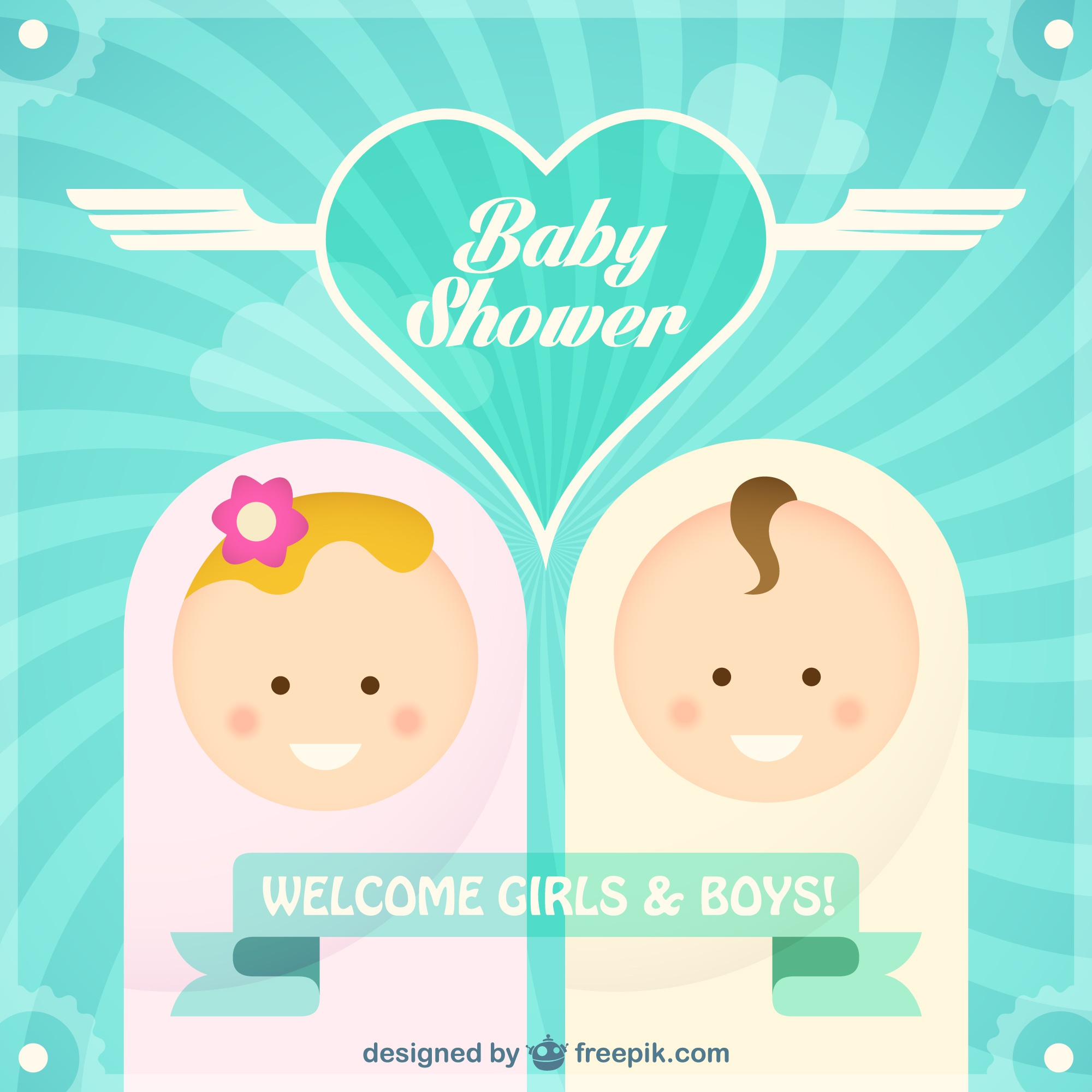 Free vector baby shower card