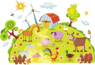 free vector cartoon farm