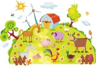 free vector cartoon farm