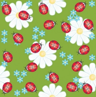 Free vector flower cute background spring daisy ladybug beautifyl smart green white red yellow