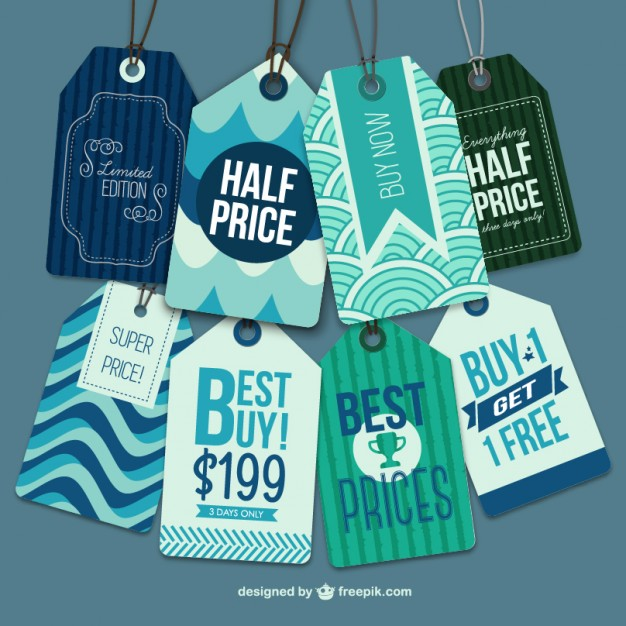 Free vector tags retro style